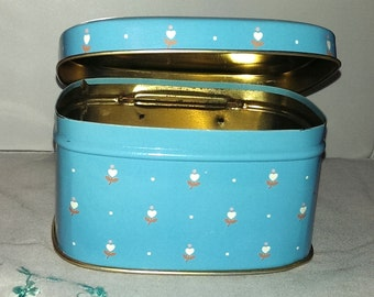 1970's Vintage Blue Hinged Tin with White Flowers - Made in England
