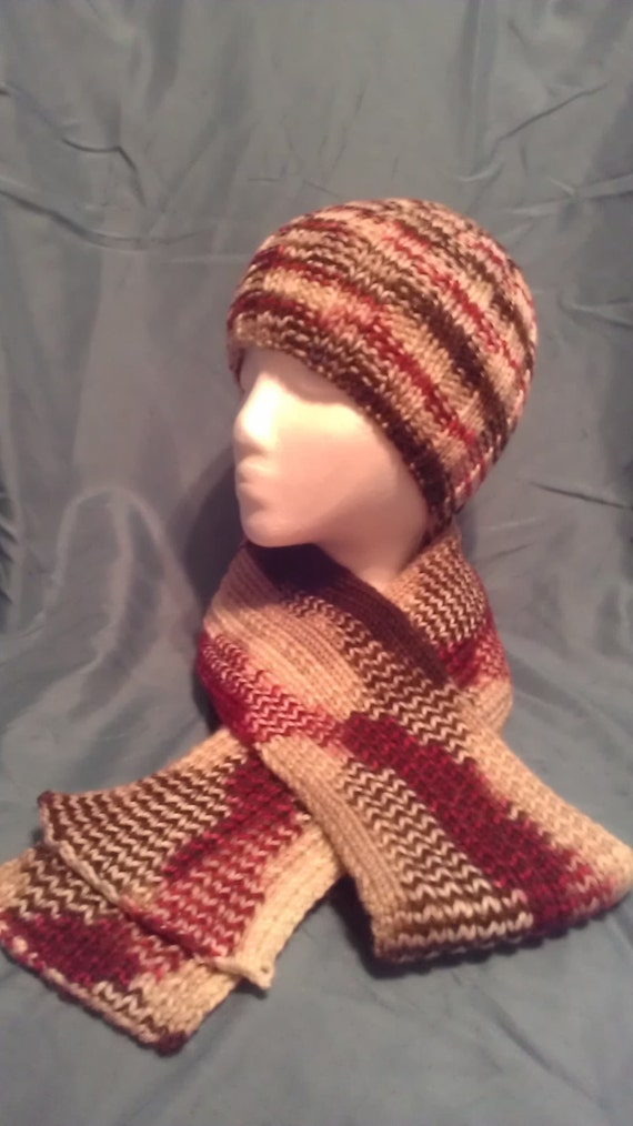 Knitted Beanie And Scarf Set