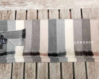 "Versace Scarf/Vintage Versace/Pure New Wool/Unisex Scarf/Striped Scarf/68""Long/20""Wide/*FREE GIFT WRAP*"