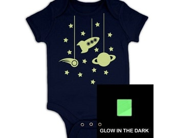 Hanging In Space (Glow In The Dark) baby grow