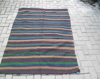 dark rugs kilim striped small turkish rug kilim rug persian rug  turk turkish konya middle est 3x5 green verde black tribal primitive ,