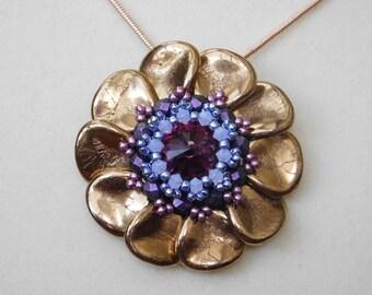 Bead Pendant, Tutorial, Pattern, Instructions, Jewelry, Swarovski, Flower, Rivoli, Beadweaving, Czech Petal, Necklace, PDF, Instant Download