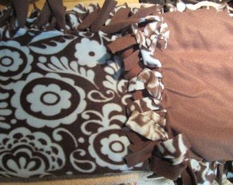 Fleece Dog Blanket - Brown w/Blue Flowers