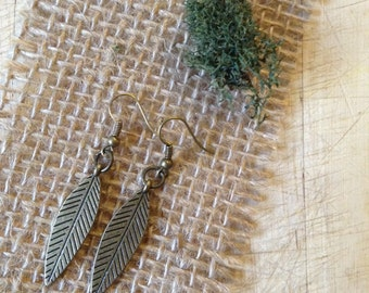 Antique Bronze Feather Earrings
