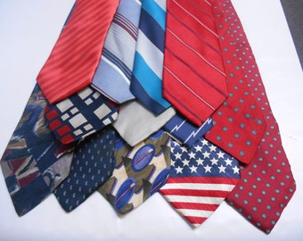 13 Mens Neckties Craft Quilting Lot Bright Primary Colors Reds Blues Black