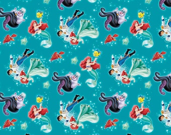 Disney Little Mermaid Ariel and Eric Fabric