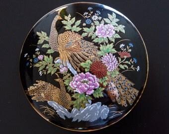Beautiful Antique Japanese Imperial Kutani Round Covered Trinket Box