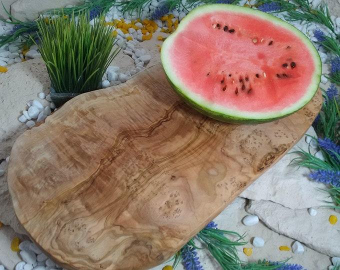 Cutting board olive wood natural cut approx 40 cm