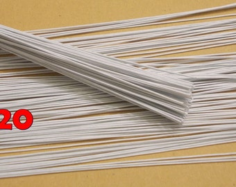 "100 Wire Stems--Gauge#20-- (Length 12"" X 1.15 mm) Floral Wire Flower Stem Artificial, Artificial Stems, Floral Stem, White Wire Stems."