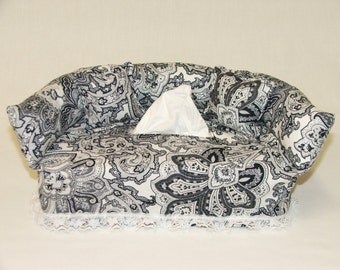 Black & White Paisley Designer fabric tissue box cover.