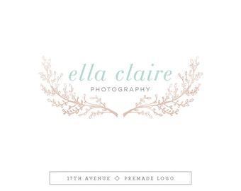 """Premade Logo Design - Watercolor Branches Logo - Photography Logo - Boutique Logo - Small Business Logo - """"Ella"""" Deluxe"""