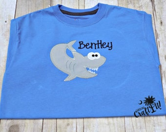 Boys Shark Shirt Personalized, Embroidered, Toddler, Boys Summer Shirts, Toddlers Summer Shirts, Shark Week, Summer Vacation, Blue Shirt