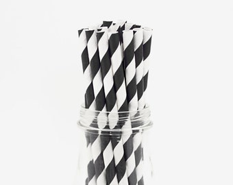Black Striped Straws, Paper Straws, Party Straws, Drinking Straws, Straws, Striped Straws