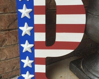 American Flag Wooden Letter