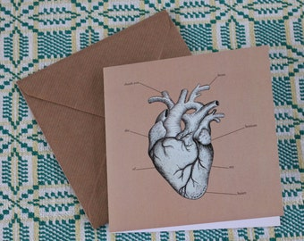 Heart card - Thank You from the Bottom of My Heart - Anatomical drawing - Hand drawn card