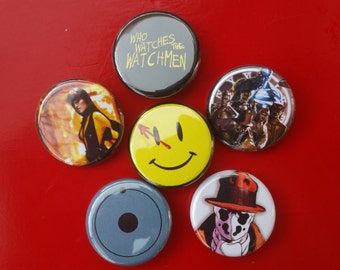 """Watchmen set of 6 pin back buttons 1.25"""""""