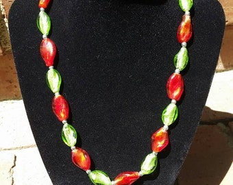 Red and Green Christmas Necklace