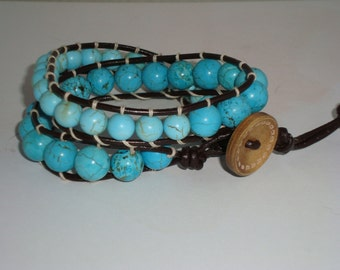 Turquiose Bead Leather Wrap Bracelet, Double Wrap Bracelet