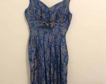 50s blue brocade floral dress
