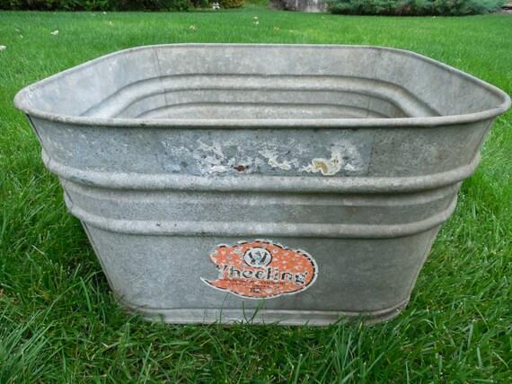 Vintage wheeling large galvanized steel beverage cooler wash for Large metal wash tub