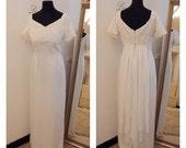 GLORIA Off the shoulder Downton Abbey Vintage 1960s Empire Line Crochet Guipure Lace Wedding Dress Sash Train Back UK Size 1416 Soft White