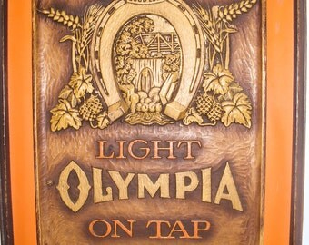 Light Olympia on Tap 3D Good Luck Horseshoe Ad Poster Vintage