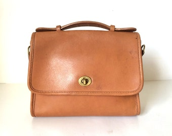 Vintage Classic Coach Court Bag British Tan 7148