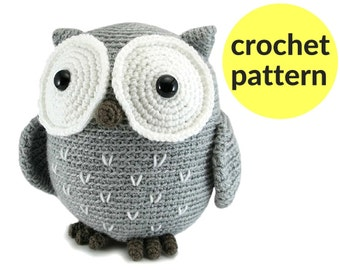Large owl amigurumi pattern - crochet owl pattern, large stuffed animal owl, cute owl pattern, cute crochet pattern, easy amigurumi pattern
