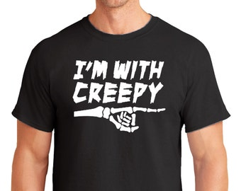 I'm With Creepy Men's T-Shirt Father's Day Dad's First Halloween Scary Slogan Funny Trick Or Treat Son Daughter Humour Novelty Costume Party