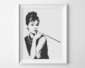 Audrey Hepburn INSTANT DOWNLOAD. Printable Fashion Wall Art. Home Decor. Breakfast at Tiffany's.