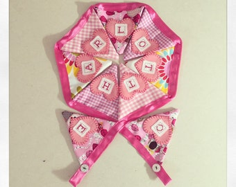 Baby girl personalized bunting