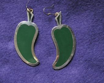 Silver Green Pepper Earrings