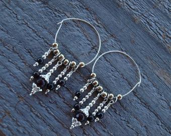 Natural Garnet Dangle Tunnel Earrings