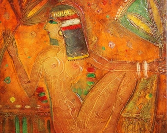 Abstract Egyptian woman portrait oil painting