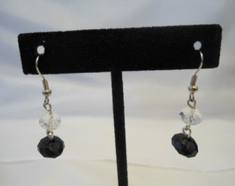 Dangling Black and Transparent White Earrings