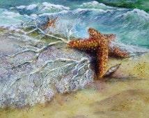 "Original Watercolor Print ""Beachcombing"" Artist Coastal Beach Decor Picture"