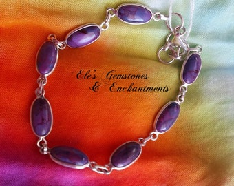 Purple Turquoise gemstone sterling silver bracelet