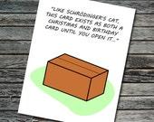 Schrödinger's Cat Nerdy Science Christmas Card | Valentine's Day, Birthday | Student, Teacher, Professor, Scientist, Physicist