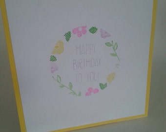 """Handmade """"Happy Birthday To You"""" Floral Stamped Card"""