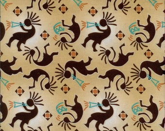 Patchwork quilt fabric curtain fabric cotton with ethnic Indian pattern flute player KOKOPELLI