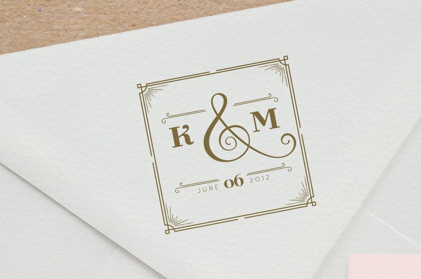 great gatsby wedding monogram stamp custom rubber stamp