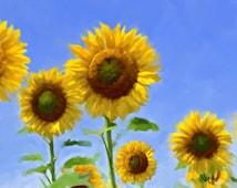 SUNFLOWER PAINTING Sunflower Original painting Flower Painting Painting sunflower art wall art Sunflower decor canvas painting art Giclée