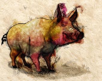 Happy the Pig Painting Print of original OIL painting  pig art, pig wall art, farm art, farm decor, farm animal art, pig gift Giclée Print