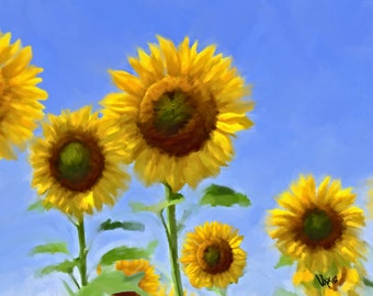 SUNFLOWER PAINTING Sunflower Original painting Flower Painting Painting sunflower art wall art Sunflower decor canvas painting art Giclée