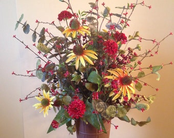 Red and Yellow Silk Flower Arrangement