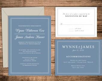 Printable Wedding Invitation Suite   Simple Traditional Wedding Invitation   Custom Wedding Invite   Digital File