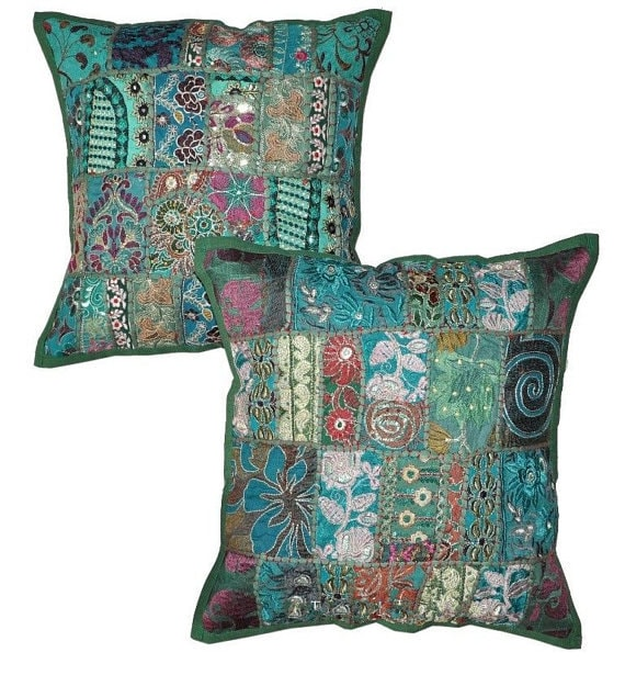 pillows 16x16 green patchwork pillow home living room decor cushions