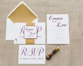 SAMPLE: Gold & Purple Classic Wedding Invitation Set with RSVP, Envelope, Belly Band and Name Motif Square. – UK