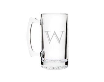 Beer Mug Custom Engraved Single Initial Beer Mug, 27 oz etched. Choose your font.