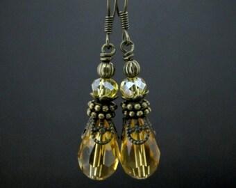 Amber Beaded Earrings - Natural Boho Earrings - Jewelry Handmade Earrings - Dangle Beaded Earrings - Crystal Glass Bead